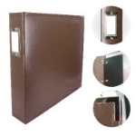 ADCO 725394 - Couture Creations 12x12 D-Ring Leather Album - Dark Brown (5 Refills included)