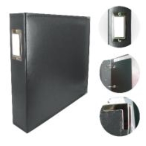 Couture Creations 12x12 D-Ring Leather Album - Black (5 Refills included)